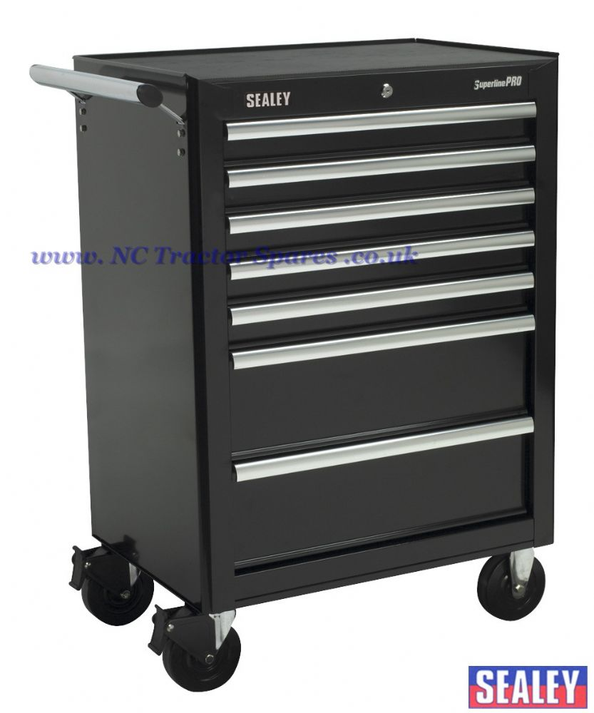 Rollcab 7 Drawer with Ball Bearing Runners - Black.